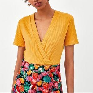 NWT Zara Mustard Wrap Crop Top